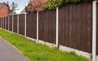 Close board fence erected around a garden for privacy with wooden fencing panels, concrete posts and kickboards for added durability.
